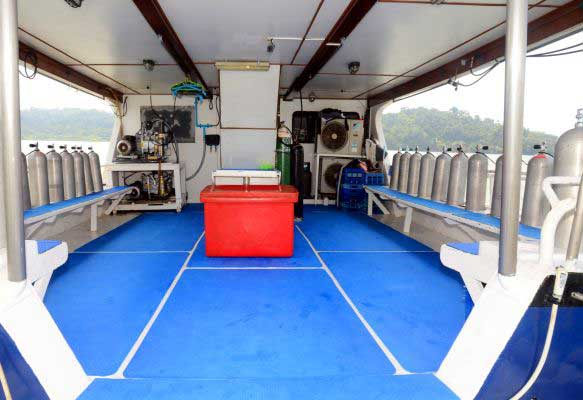 Dive deck on the liveaboard yacht
