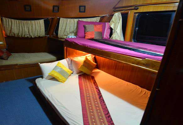 Cabin on the liveaboard yacht