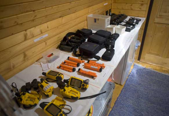 Equipment table at base