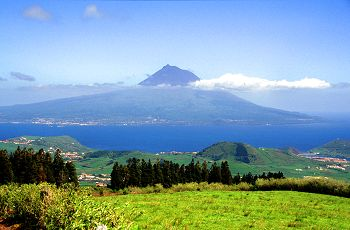 View of Pico (the largest mountain in Portugal) from Faial island