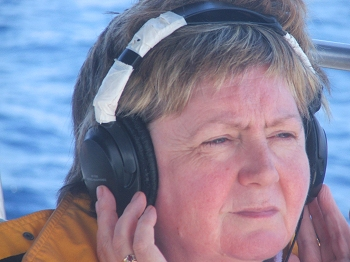The look of utter concentration during hydrophone duty..