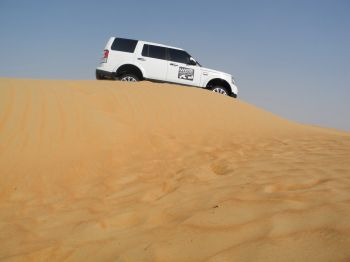 On a survey with an expedition Land Rover