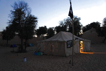 Bedu mess tent at night (with solar lighting)