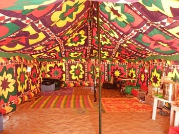 Inside the Bedu mess tent