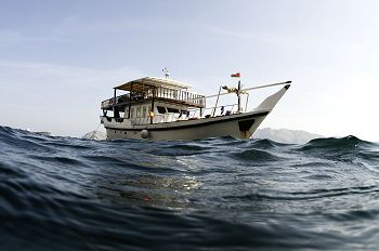 The live-aboard dhow, base and research vessel.