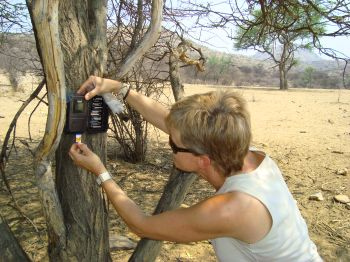 Setting up a camera trap